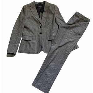 Escada 2 Piece Wool Pinstripe Suit Pants Blazer